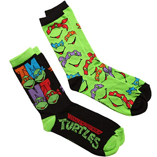 Teenage Mutant Ninja Turtles Faces & Logo 2-pack Adult Crew Socks -