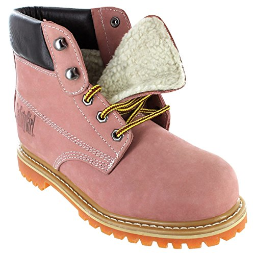 Sheepskin Lined Womens Work Boots - Pink Steel Toe