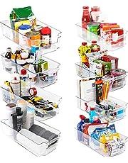KICHLY Premium klar förvaringsorganisatör – set med 8 behållare (4 stora, 4 små organisatörskor) flerfunktionellt kök, kylskåp, skafferi, bänk, smink, underhandfat och badrumsorganisatör – BPA-fri