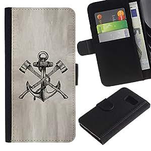 Billetera de Cuero Caso Titular de la tarjeta Carcasa Funda para Samsung Galaxy S6 SM-G920 / axe anchor paper sketch pencil ink tattoo / STRONG
