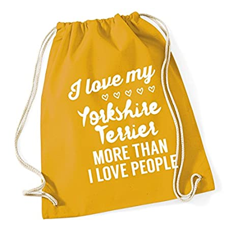 HippoWarehouse I love my yorkshire terrier more than I love people Drawstring Cotton School Gym Kid Bag Sack 37cm x 46cm, 12 litres 51lLHXsQxqL