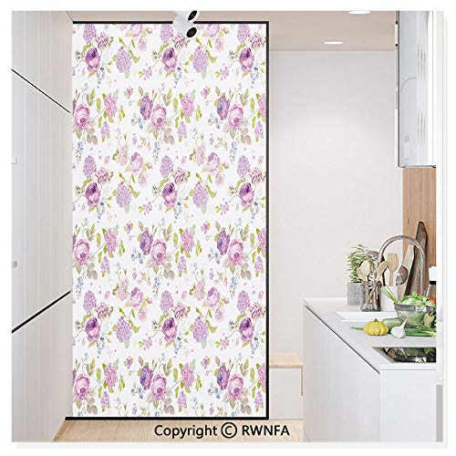 RWN Film No Glue Static Cling Glass Sticker Decorative,English Roses Violets Gardening Plants Inflorescence Twigs Spring Buds 17.7