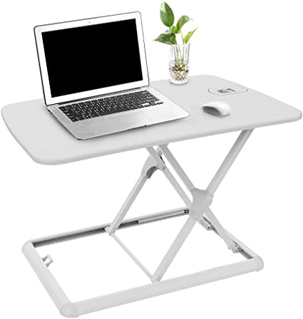 White Sit//Stand Desk Riser Height Adjustable Lightweight Standing Laptop Desk Notebook//Tablet//Monitor Holder Stand with Keybaord Tray