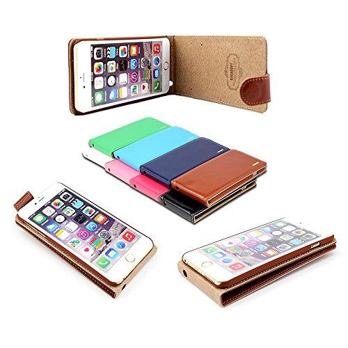 Excellente Meilleur Iphone 6 (4,7 pouces) Brown Flip Cover Housse en cuir avec fente de deux cartes pour Apple Iphone 6 (4,7 pouces)