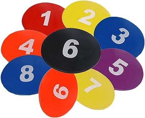 Singeru 10 marcadores de fútbol para Equipo de Entrenamiento de fútbol, Discos Planos, letreros de Patadas y Dash traing # 23 cm/9 Pulgadas: Amazon.es: Deportes y aire libre
