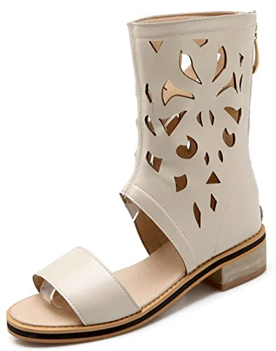 97e4a2df3301 SFNLD Women s Trendy Open Toe Mid Calf Hollow Out Gladiator Sandals Zip Mid  Heel Shoes Beige