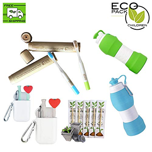 4THINGIES Eco-Pack Children - 7 PACK Eco-friendly - 2 Reusable Collapsibles Water bottle with 2 silicone straws plus a 2 Vegan bamboo toothbrushes (children size) by 4Thingies Going Green