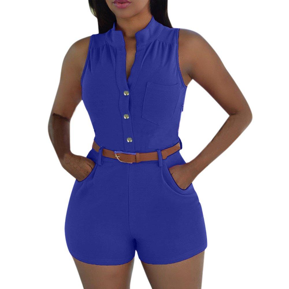 Petalum Damen Jumpsuit Sommer Bluse Hose Elegant Basic Hoch Kragen V-Ausschnitt Ärmellos High Waist Gürtel Taschen Overall