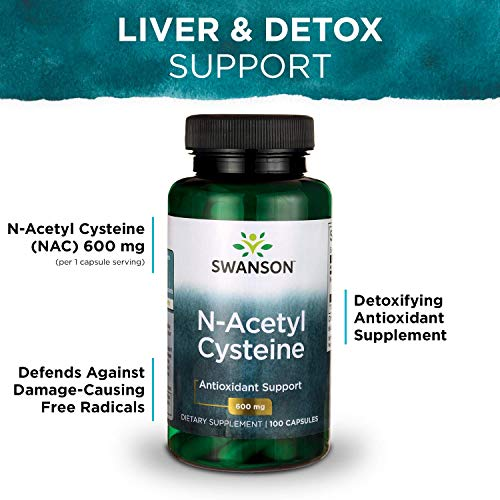 51lLIrH2vtL - Swanson NAC N-Acetyl Cysteine Antioxidant Anti-Aging Liver Support & Amino Acids Supplement 600 mg 100 Capsules (3 Pack)