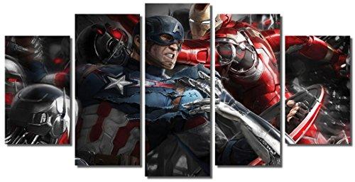 "Picture Sensations Framed Canvas Art Print, Marvel Avengers Age of ultron Super Hero, Captain America, Iron Man, Hulk, Thor, Black Widow, Hawkey - 60""x32"""