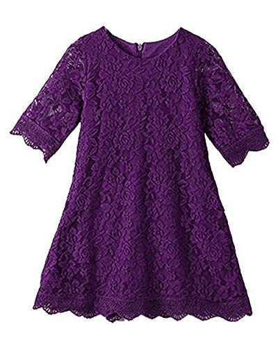 APRIL GIRL Flower Girl Dress, Lace Dress 3/4 Sleeve Dress (Purple, 9-10 Years)