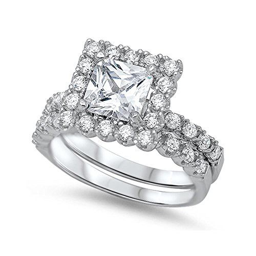 - Sterling Silver Cubic Zirconia Clustered Princess Cut Wedding Ring Set, 12mm