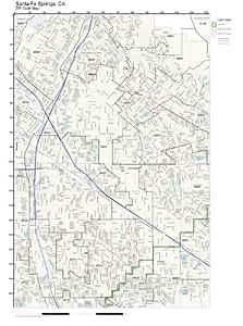 Amazon Com Zip Code Wall Map Of Santa Fe Springs Ca Zip Code Map Laminated Home
