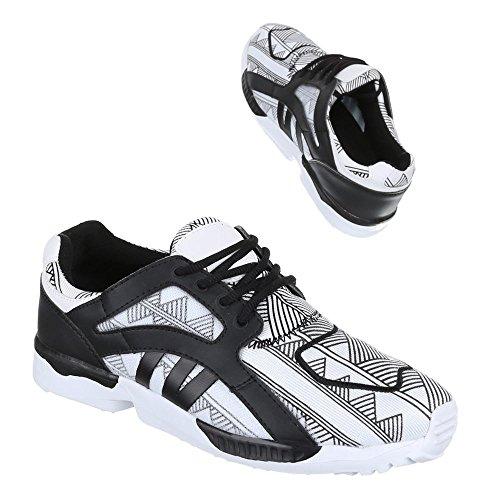 Ital-Design - Zapatillas de Material Sintético para mujer Blanco - Weiß Schwarz