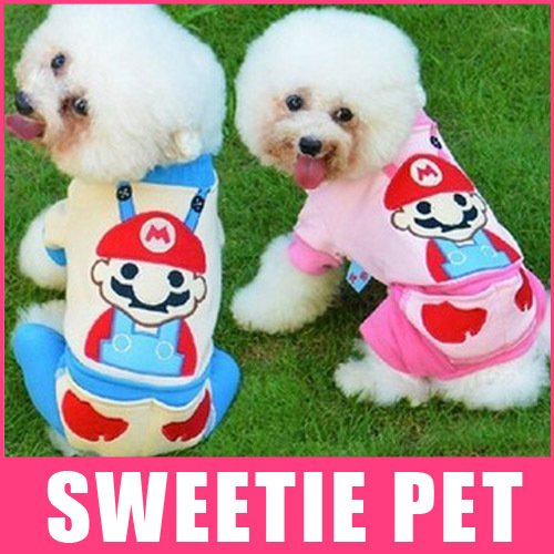 Unpre (TM) 2 Colors Super Mario DOGS CATS Clothes Warm Cotton Pet Soft Jumpsuit (Dog Mario Costume)