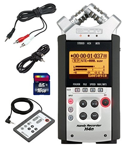 Zoom H4n Handy Mobile 4-Track Recorder - Bundle w/16GB Class 10 SDHC Card, Stereo 3.5mm Mini Phono Male to Two RCA Males Y-Cable, 3.5mm to 3.5mm Stereo Output Cable, Zoom RC-4 Remote Control (Zoom H4n Recorder)