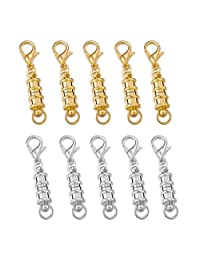 MOWOM 10~15 PCS Silver Gold Two Tone Alloy Bracelet Necklace Magnetic Lobster Clasp