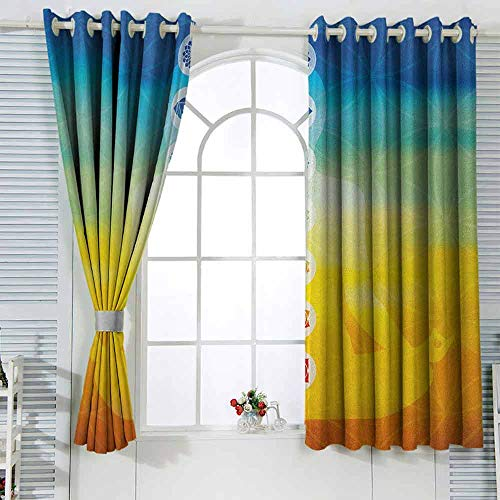 zojihouse ChakraGradient Colored Digital Female Human Body with Central Sacred Chakra Points Design Print Customized Curtains W55xL63 Multicolor (Chakras In Human Body And Their Functions)