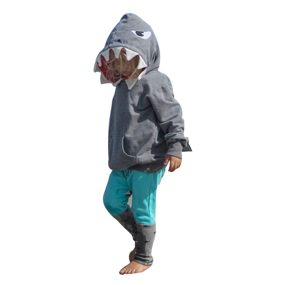 Vovotrade Ψ Shark a Maniche Lunghe per Bambini Set a Due Pezzi, Toddler Kid Baby Girl Boy 3D Cartoon con Cappuccio Shark T-Shirt Top + Pants Set di Vestiti