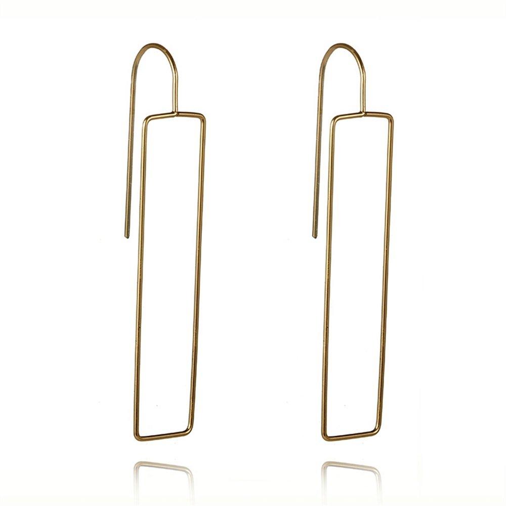 3 Colors Hollow Geometric Rectangle Long Dangle Earrings for Women Girls Party Gifts