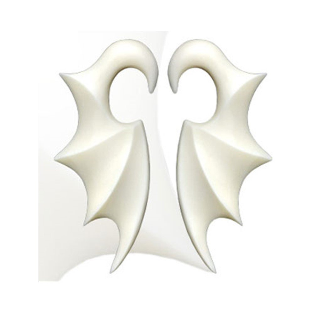 MsPiercing Pair Of Hand Carved Buffalo Bone Bat Wing Tapers, Gauge: 2 (6.5Mm) by Mr.Piercing