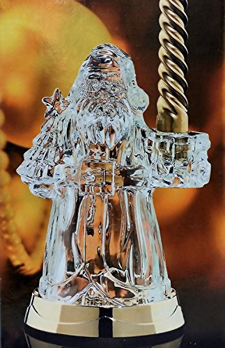 (St George Fine Crystal Santa Candlestick with Light-up Gold Tone Base 24% Fine Lead)