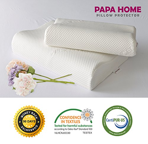 Inner Foam - Papahome Tencel Contour Memory Foam Pillow-Tencel Outer/Waterproof Inner Cover, Memory Foam Pillow (Standard)