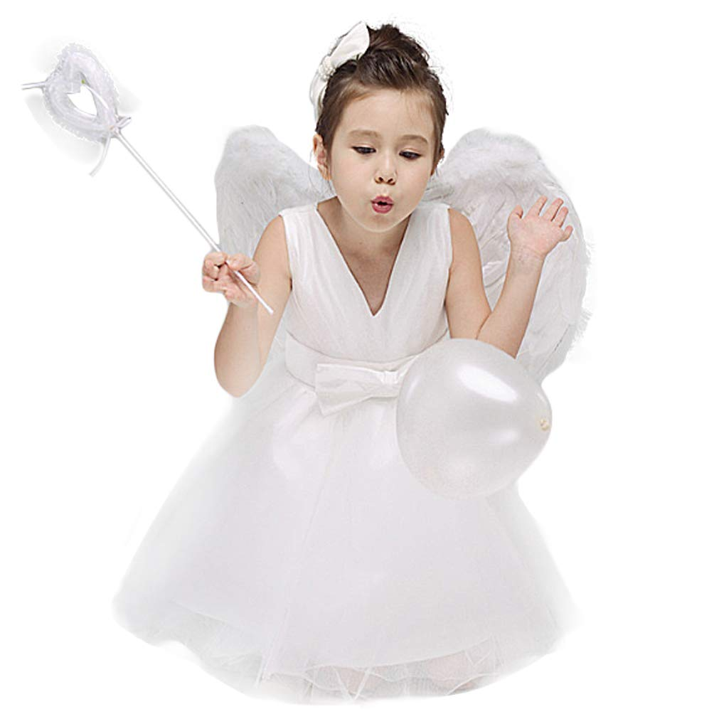 Woworld Dress with Feather Wings for Children Child's Angel Costumes from Age 4 to 15(XS) by Woworld (Image #3)