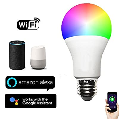 KOBWA Smart LED Light Bulb,Works with Alexa and Google Home,WiFi Bluetooth Colour Changing RGB 6000K Dimmable Eco-smart Lightbulb Timers,Remote Controlled By IOS/Android Flux APP,CE & FCC Certified