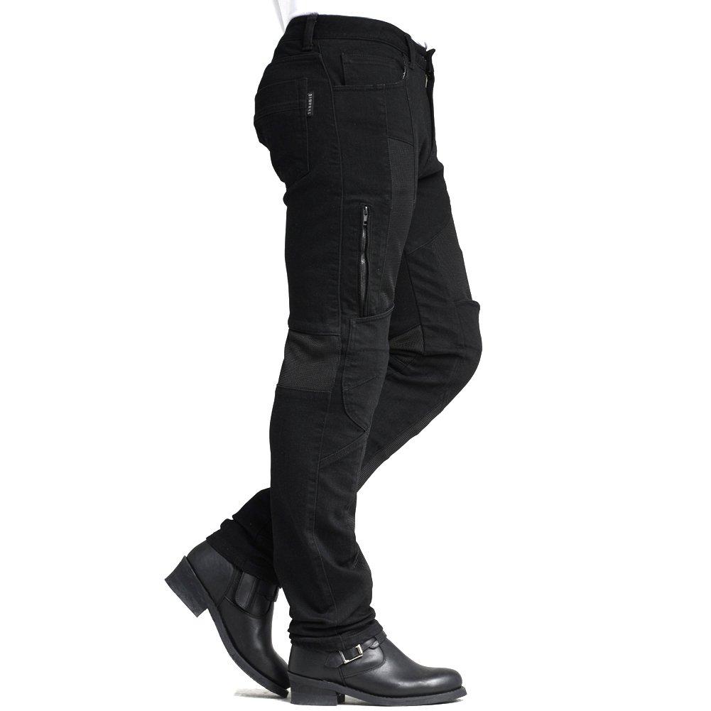MAXLER JEAN Biker Jeans for men Motorcycle Motorbike riding kevlar Jeans 1614 for summer Black 32 by Maxlerjean (Image #2)