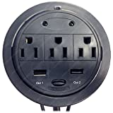 Power Tap Grommet with Hidden Power Center w/ 3 Power and 2 USB by Electriduct