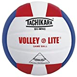 Tachikara Volley-Lite Micro-Fiber Composite Leather Volleyball, Scarlet/White/Blue