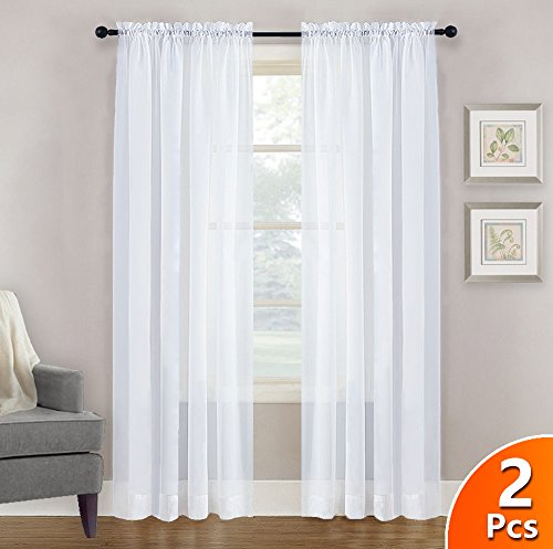 Sheer Curtains 45 inches Length - NICETOWN Rod Pocket Window Treatment Sheer Voile Drapes for Kid's Room (One Pair, W60 x L45, White ) (Curtain Sheer Panels 45)