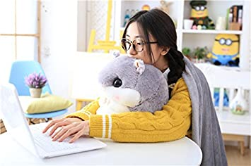 Light Brown Kenmont 2 in 1 Cute Hamster Pillow with Fleece Blanket//Back Support Cushion Sleeping Pillow Plush Toys Doll Gifts for Baby Kids Adults