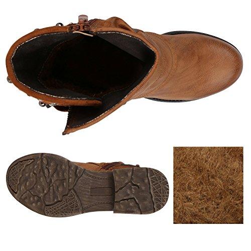 ... Stiefelparadies Damen Stiefeletten Metallic Biker Boots Leicht  Gefütterte Stiefel Block Absatz Booties Schnallen Schuhe Damenschuhe  Flandell dedd97415c