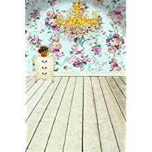 A.Monamour Light Blue Rose Floral Wall Mural Vinyl Wooden Floor Indoor Studio Photography Backdrops 5x7ft Wedding
