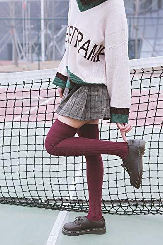 9da66862a92 Lian LifeStyle Women s 4 Pairs Over Knee High Thigh-High Cotton Socks  LLS1024 Size 6