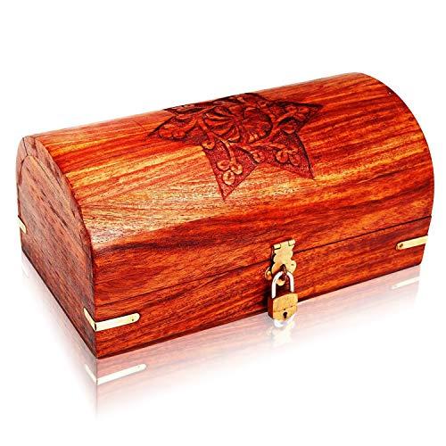 Great Birthday Gift Ideas Handmade Decorative Wooden Jewelry Box With Free Lock & Key Jewelry Organizer Keepsake Box Treasure Chest Trinket Holder Lock Box Watch Box 9 x 5 Inch Anniversary Gifts Her (With Trinket Lock Small Box)