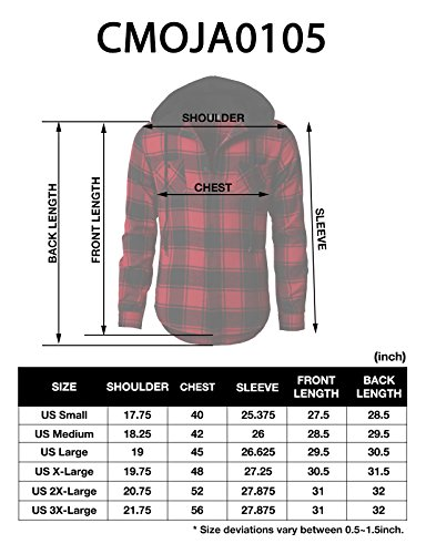 H2H Mens Casual Flannel Shirts Hoodie Jacket Green US XL/Asia 2XL (CMOJA0105) by H2H (Image #7)