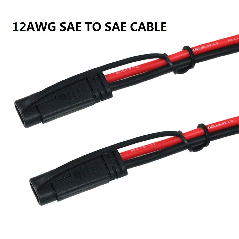 SPARKING 3FT 12AWG SAE to SAE Extension Cable 2Pin Bullet Quick Connect Heavy Duty Wire Harness with Waterproof Cap