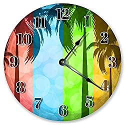 10.5 PALM TREES ABSTRACT ART CLOCK - Large 10.5 Wall Clock - Home Décor Clock