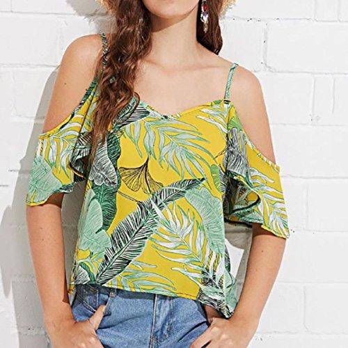 Longra❤Personalizado Para España Mujeres Verano Off Shoulder Gasa Impreso Chaleco Blusa Tank Tops Ropa Camiseta blusas de mujer elegantes: Amazon.es: ...