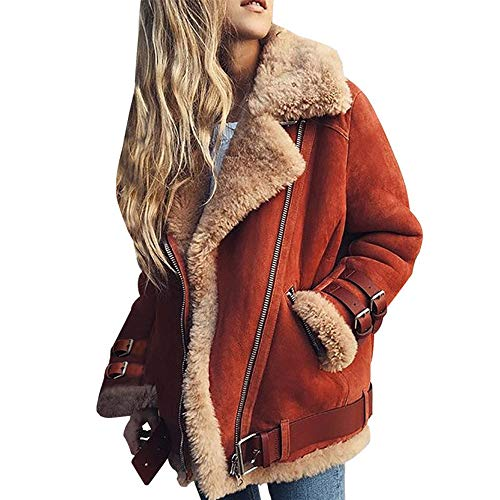 (Allonly Women's Stylish Lapel Sheepskin Suede Leather Cashmere Shearling Oversize Coat Warm Moto Jacket)