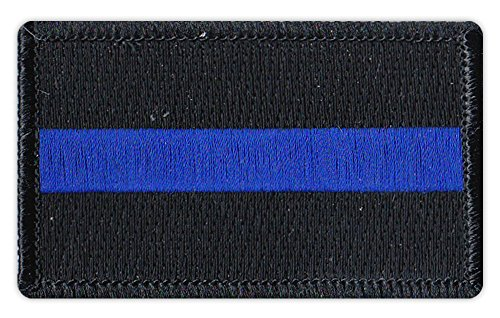 Police Officer Patch - Motorcycle Biker Jacket/Vest Embroidered Patch - Thin Blue Line - Support Our Police Officers