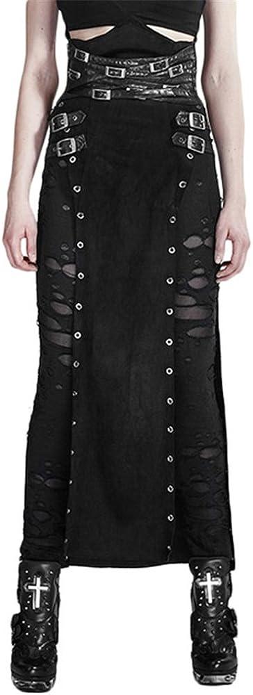 PUNK Black PU Leather Spanking Beauty products 2021 model Split Wa Warrior High Skirt Pants