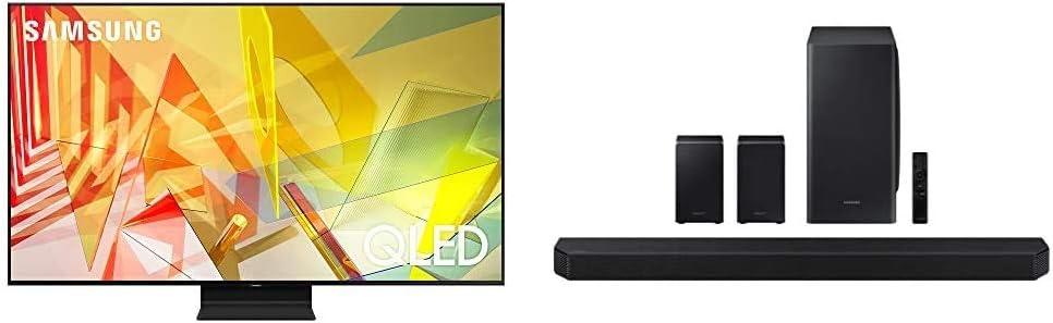 SAMSUNG 65-inch Class QLED Q90T Series - 4K UHD Smart TV with Alexa Built-in (QN65Q90TAFXZA, 2020 Model) + HW-Q950T 9.1.4ch Soundbar with Dolby Atmos/DTS:X and Alexa Built-in (2020), Black