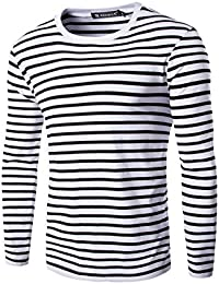 Allegra K Men Casual Pullover Basic Crew Neck Long Sleeve Striped Tee T Shirt