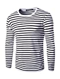 uxcell Men Crew Neck Long Sleeves Striped T-Shirt Black White XL