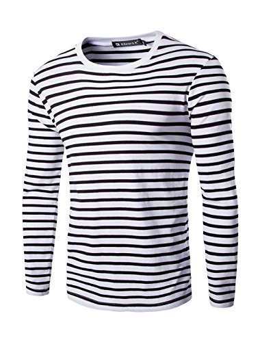uxcell Men Crew Neck Long Sleeves Stripe-Patterned T-Shirt Black S(US 36) -