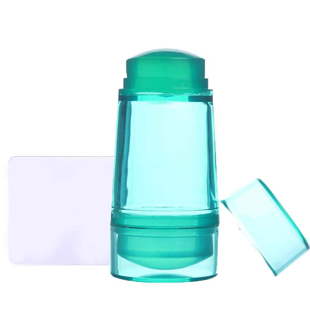Sunlera Double Head Jelly Silicone Nail Stamper Seal with Scraper Green Transparent Nail Manicure Art Stamping Tool